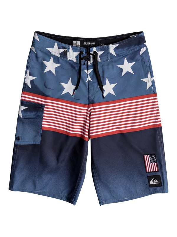 """0 Boys 8-16 Division Independent 18"""" - Boardshorts Blue EQBBS03267 Quiksilver"""