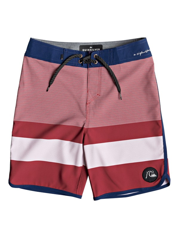 "0 Boy's 8-16 Highline Tijuana 17"" Boardshorts Red EQBBS03349 Quiksilver"