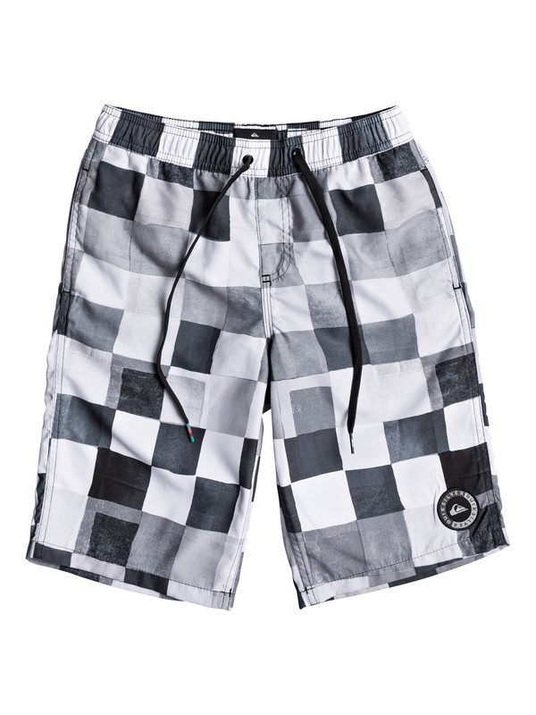 "0 Boys 8 -16 Resin Check 19"" Volley Boardshorts Black EQBJV03146 Quiksilver"
