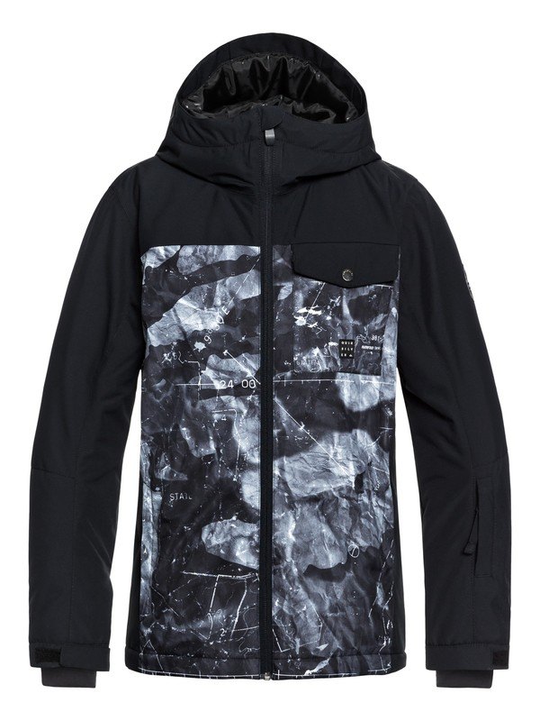 0 Boy's 8-16 Mission Block Snow Jacket Black EQBTJ03080 Quiksilver