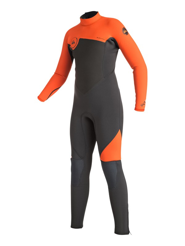 0 Boy's Syncro 3/2mm Back Zip Full Wetsuit Orange EQBW103016 Quiksilver