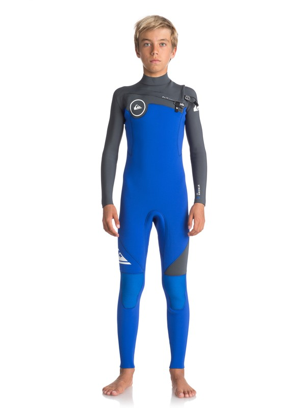 0 4/3mm Syncro Series - Chest Zip GBS Wetsuit for Boys 8-16 Purple EQBW103021 Quiksilver