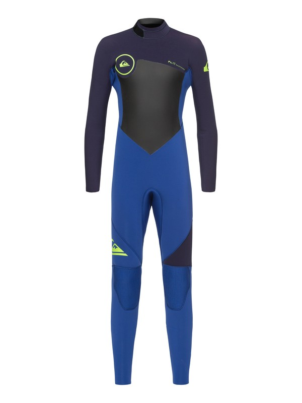 0 Boy's 8-16 3/2mm Syncro Series Back Zip GBS Wetsuit Blue EQBW103023 Quiksilver