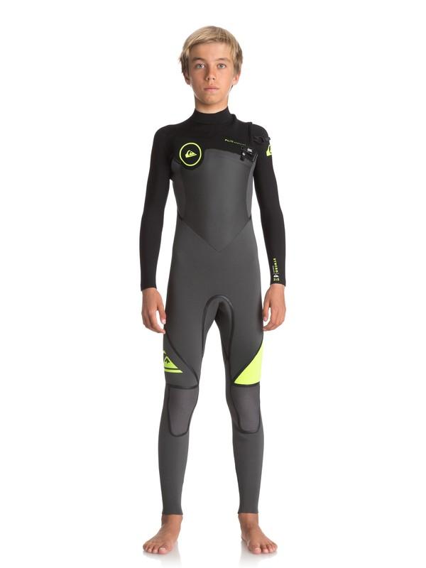 0 Boy's 8-16 3/2mm Syncro Plus Chest Zip Wetsuit Black EQBW103026 Quiksilver