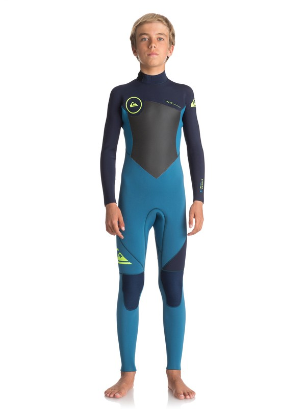 0 Boy's 8-16 4/3mm Syncro Series Back Zip GBS Wetsuit Blue EQBW103027 Quiksilver