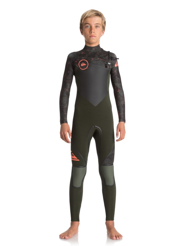 0 4/3mm Syncro Plus - Chest Zip Wetsuit for Boys 8-16 Green EQBW103029 Quiksilver