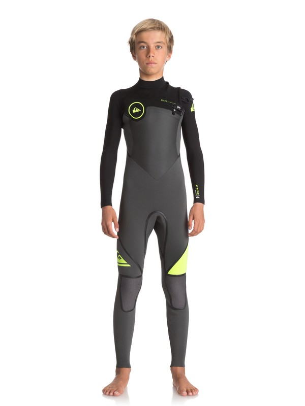 0 Boy's 8-16 4/3mm Syncro Plus Chest Zip Wetsuit Black EQBW103029 Quiksilver