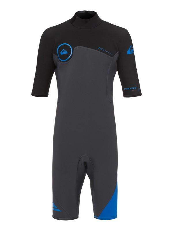 0 Boy's 8-16 2/2mm Syncro Series Short Sleeve Back Zip FLT Springsuit Blue EQBW503004 Quiksilver