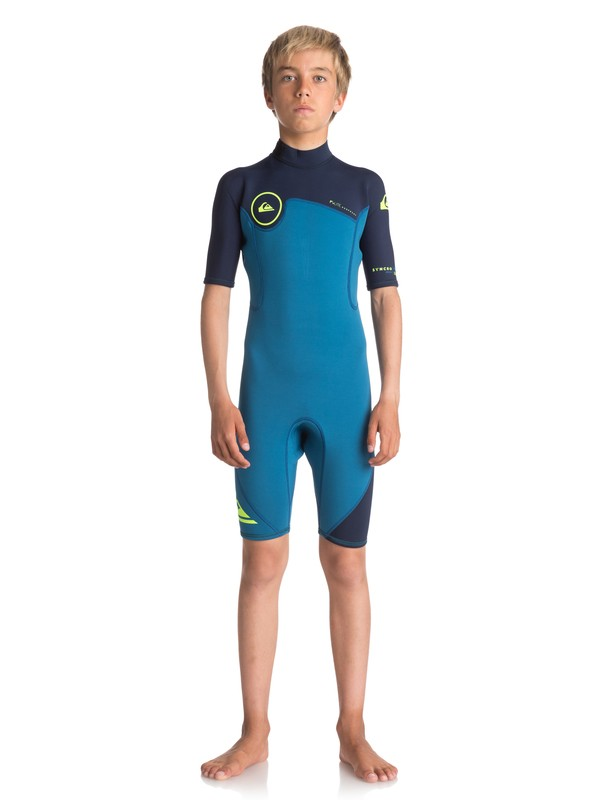 0 Boy's 8-16 2/2mm Syncro Series Short Sleeve Back Zip FLT Springsuit Blue EQBW503004 Quiksilver