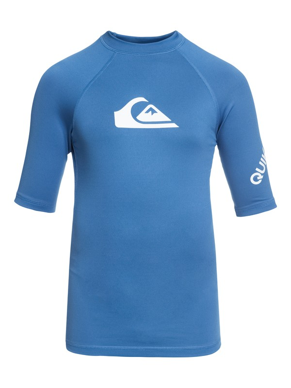 0 Boy's 8-16 All Time Short Sleeve UPF 50 Rashguard Blue EQBWR03006 Quiksilver