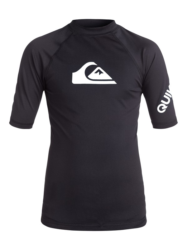 0 Boy's 8-16 All Time Short Sleeve UPF 50 Rashguard Black EQBWR03006 Quiksilver