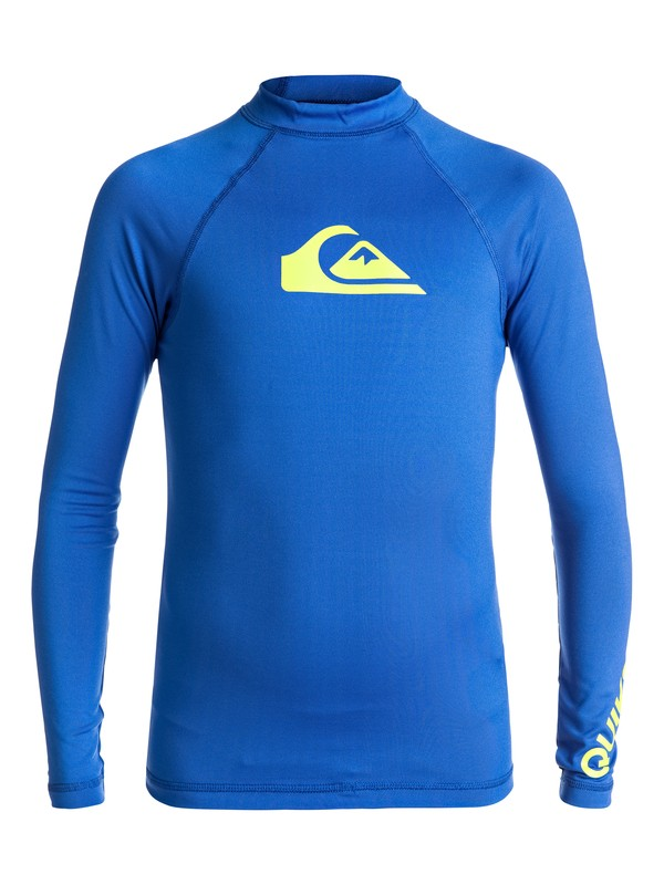 0 Boy's 8-16 All Time Long Sleeve Rashguard Blue EQBWR03007 Quiksilver