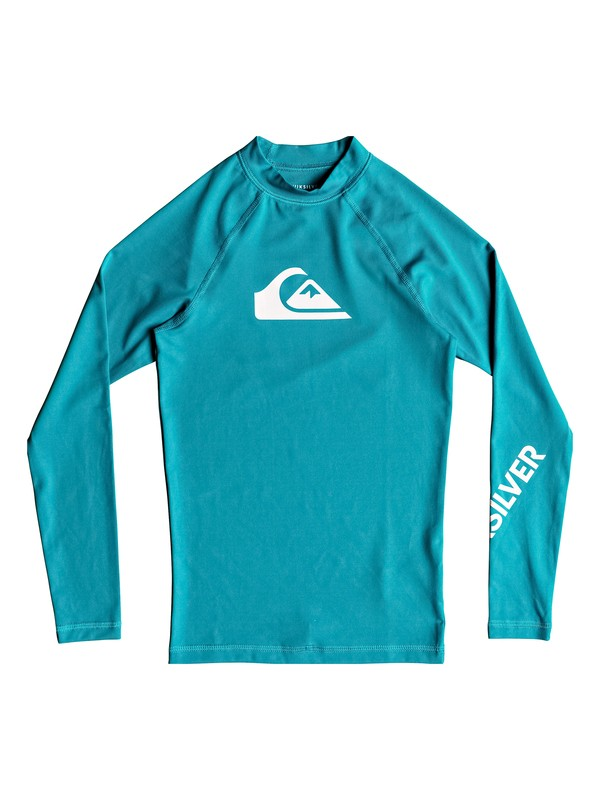 0 Boy's 8-16 All Time Long Sleeve UPF 50 Rash Guard Blue EQBWR03047 Quiksilver