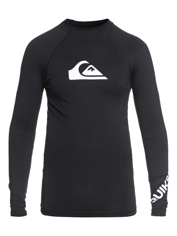 0 Boy's 8-16 All Time Long Sleeve UPF 50 Rash Guard Black EQBWR03047 Quiksilver