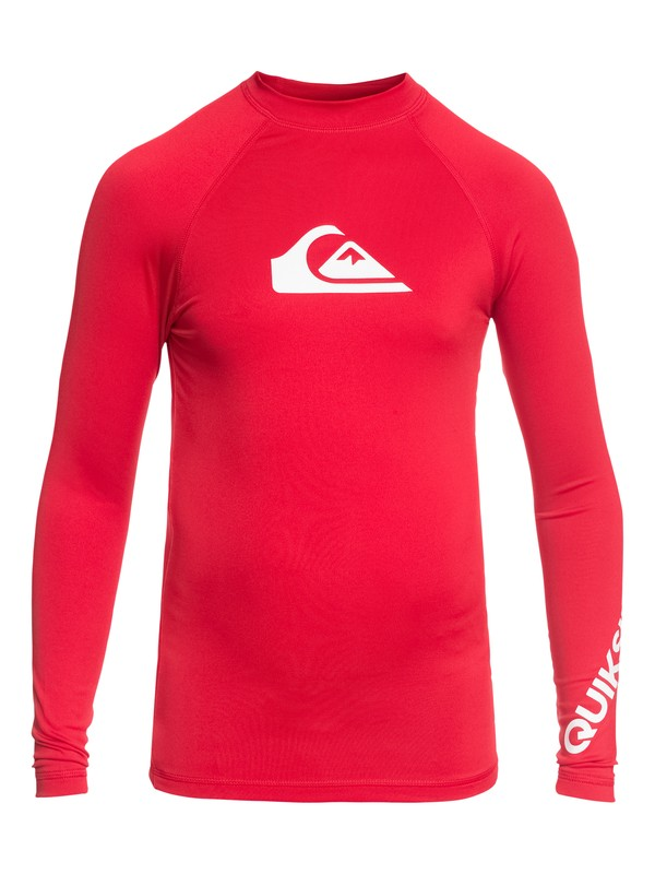 0 Boy's 8-16 All Time Long Sleeve UPF 50 Rash Guard Red EQBWR03047 Quiksilver