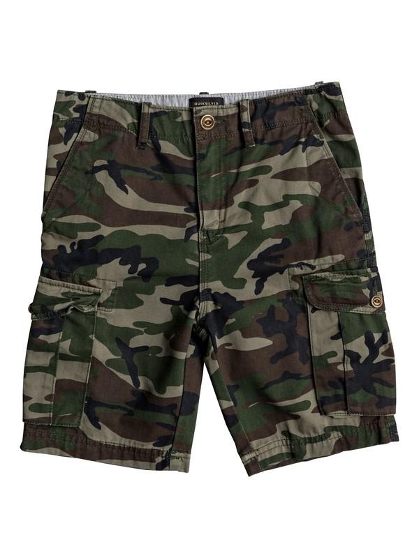 "0 Boy's 8-16 Crucial Battle 18"" Cargo Shorts Green EQBWS03226 Quiksilver"