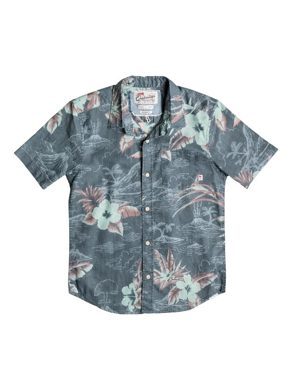 0 Boy's 8-16 Parrot Jungle Short Sleeve Shirt  EQBWT03123 Quiksilver