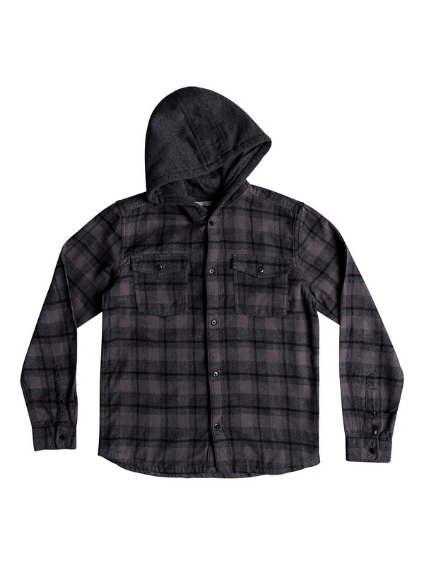 0 Boy's 8-16 Snap Up Long Sleeve Shirt Black EQBWT03222 Quiksilver