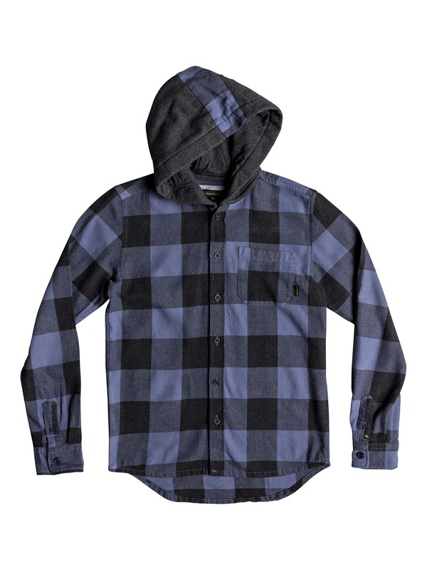 0 Boy's 8-16 Motherfly Long Sleeve Hooded Shirt Blue EQBWT03233 Quiksilver