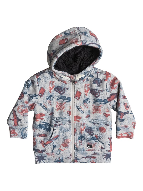 0 Allover Sherpa Backool - Sweat doublé à capuche zipé  EQIFT03013 Quiksilver