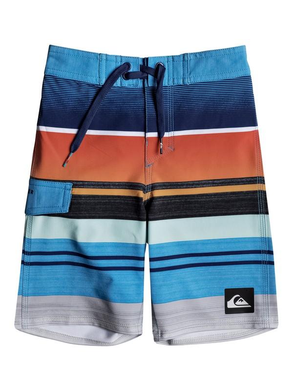 "0 Boy's 2-7 Everyday Stripe 14"" Boardshorts Orange EQKBS03136 Quiksilver"