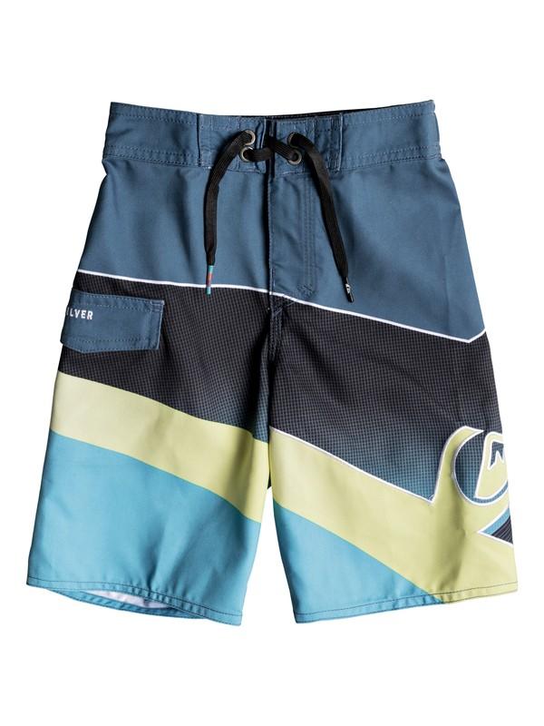 "0 Boys 2-7 Slash Fade Logo 14"" - Boardshorts Blue EQKBS03153 Quiksilver"