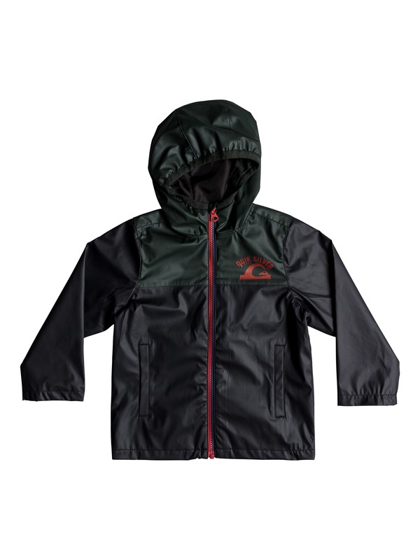 0 Hikiomori - Chaqueta de lluvia con capucha para Chicos 2-7 Negro EQKJK03088 Quiksilver