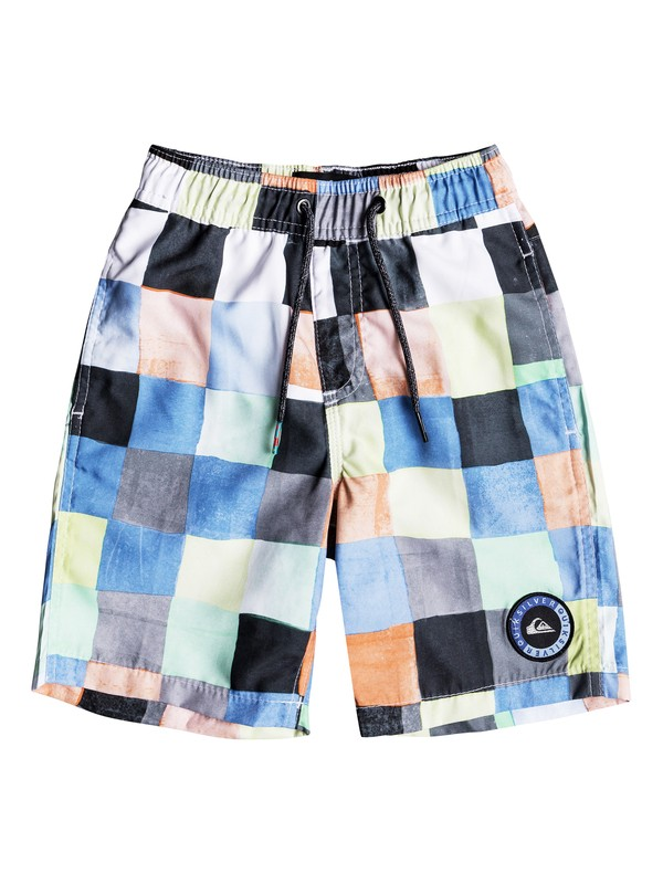 "0 Boys 2 - 7 Resin Check 14"" Volley Boardshorts White EQKJV03045 Quiksilver"