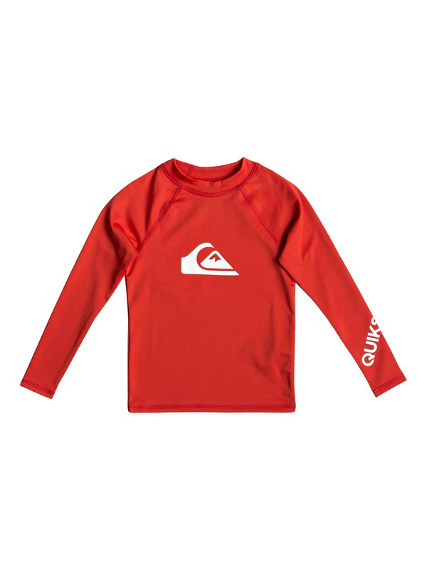 0 Boy's 2-7 All Time Long Sleeve UPF 50 Rashguard Red EQKWR03050 Quiksilver
