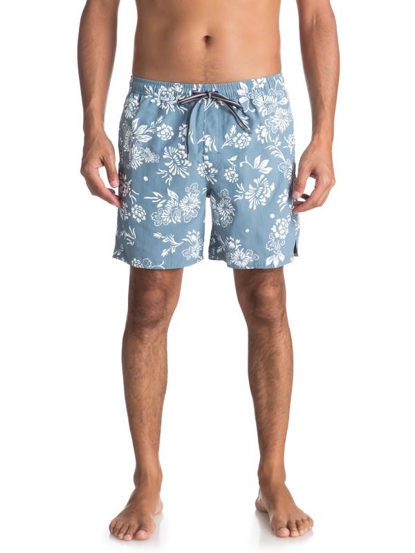 """0 Waterman Om Floral 17"""" Volleys Blue EQMJV03027 Quiksilver"""