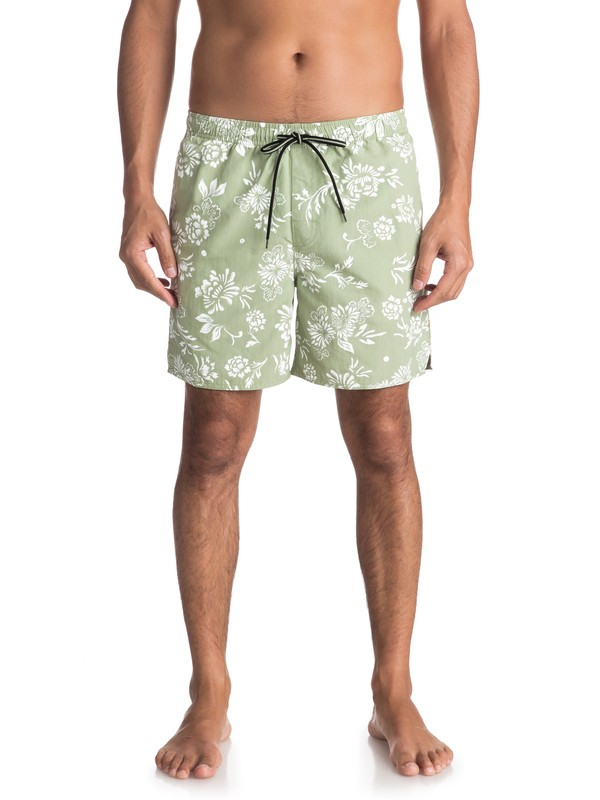 "0 Waterman Om Floral 17"" Volleys Green EQMJV03027 Quiksilver"