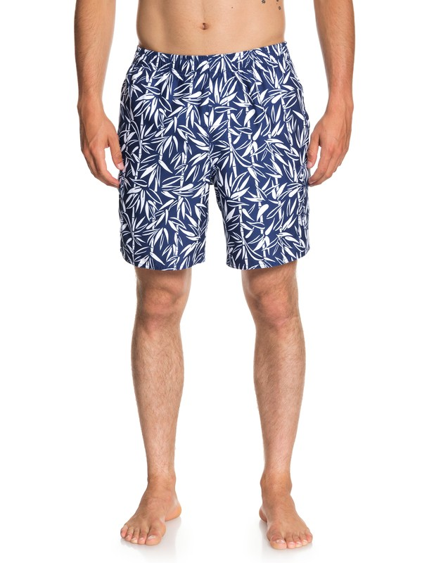 "0 Waterman Balance Bamboo 18"" Volley Boardshorts Blue EQMJV03037 Quiksilver"