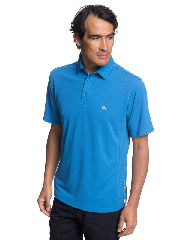 0 Waterman Water 2 Short Sleeve Polo Shirt Blue EQMKT03046 Quiksilver