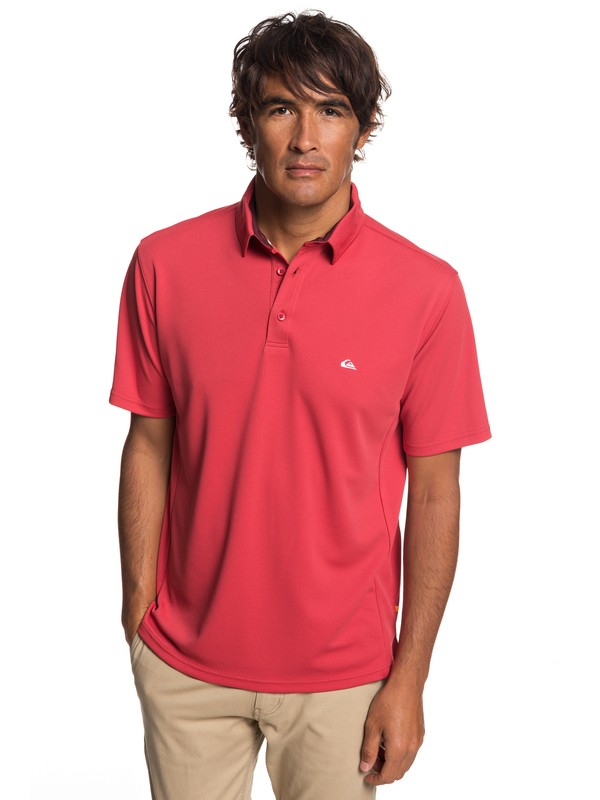 0 Waterman Water 2 Short Sleeve Polo Shirt Red EQMKT03046 Quiksilver