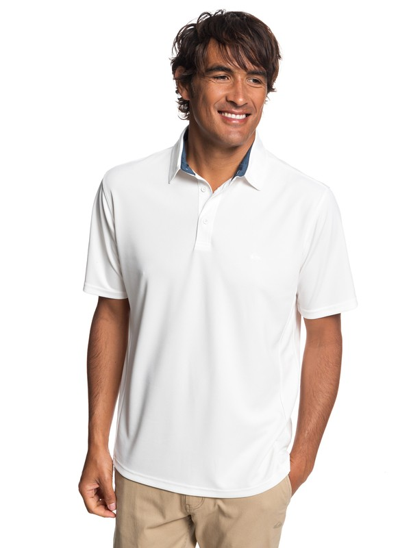 0 Waterman Water 2 Short Sleeve Polo Shirt White EQMKT03046 Quiksilver