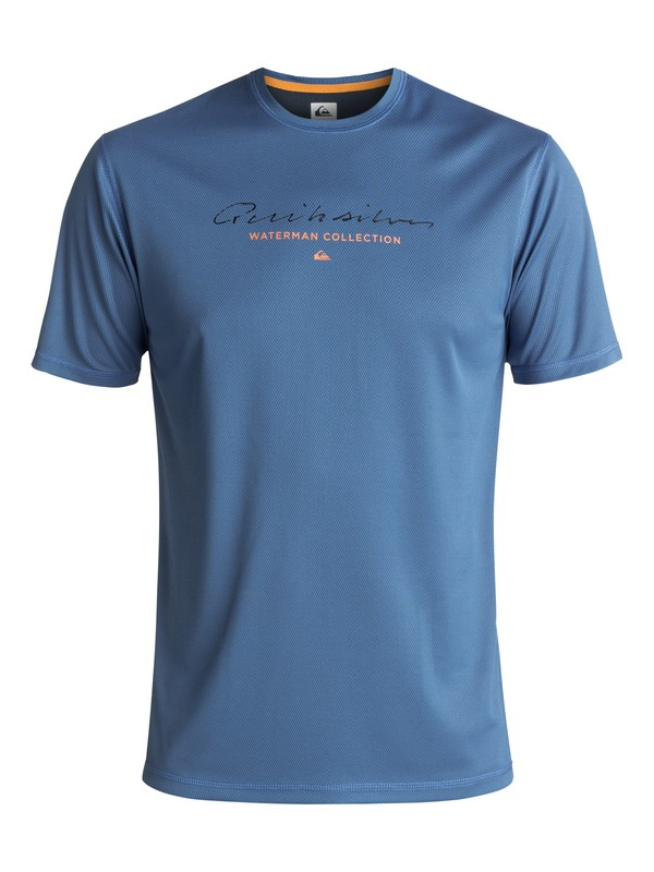 0 Waterman Gut Check Amphibian UPF 40 Surf Tee Blue EQMWR03018 Quiksilver