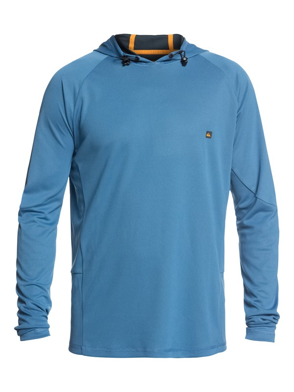 0 Waterman New Hooked Long Sleeve UPF 50 Hooded Rash Guard Blue EQMWR03036 Quiksilver