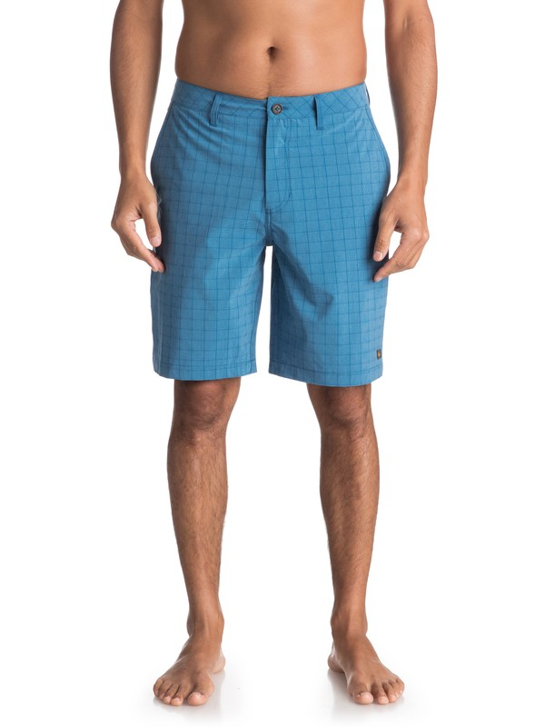 0 Waterman Vagabond Plaid Amphibian Shorts Blue EQMWS03051 Quiksilver