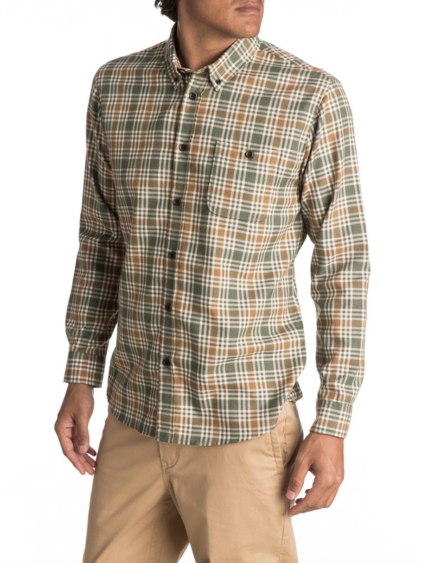 0 Waterman Cortez Straight Long Sleeve Shirt Green EQMWT03038 Quiksilver
