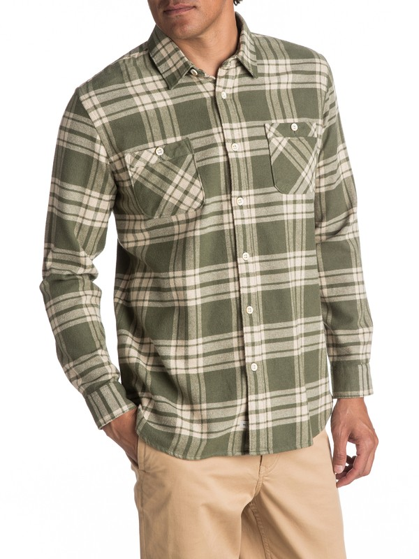 0 Waterman Moon Tides Flannel - Long Sleeve Shirt Green EQMWT03075 Quiksilver