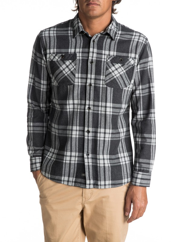 0 Waterman Moon Tides Flannel Long Sleeve Shirt Black EQMWT03075 Quiksilver