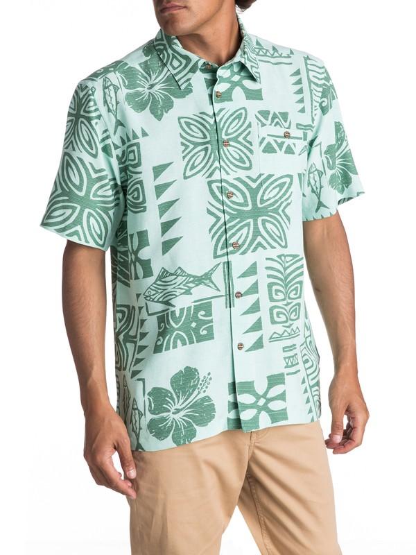 0 Waterman Inktapa Short Sleeve Shirt Green EQMWT03088 Quiksilver