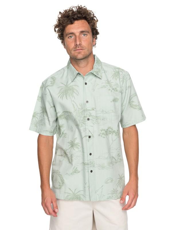 0 Waterman Koolin Map Short Sleeve Shirt Green EQMWT03110 Quiksilver