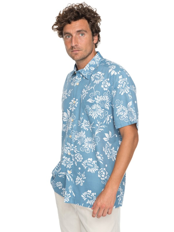 0 Waterman Omfloral Short Sleeve Shirt Blue EQMWT03112 Quiksilver