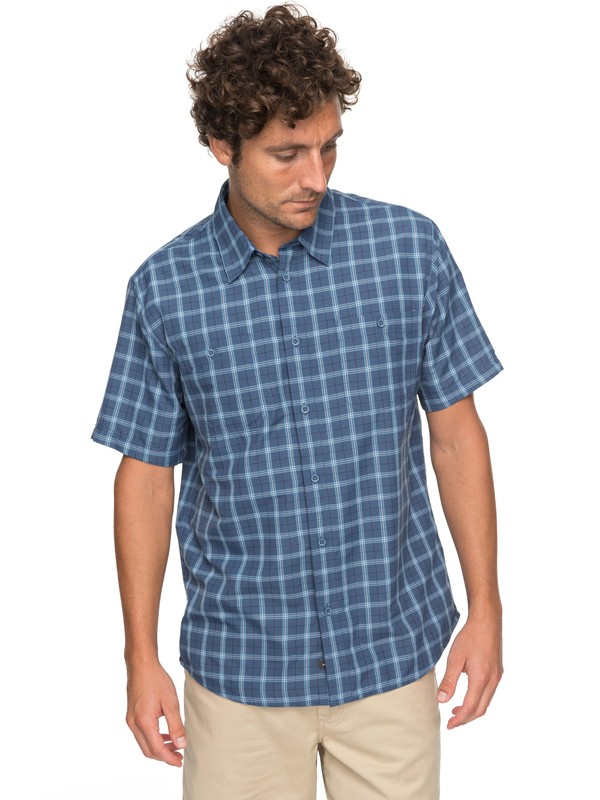 0 Waterman Wake Plaid 2 Technical Short Sleeve Shirt Blue EQMWT03123 Quiksilver