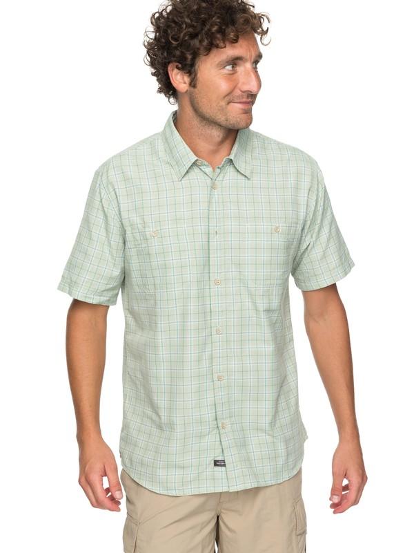 0 Waterman Wake Plaid 2 Technical Short Sleeve Shirt Green EQMWT03123 Quiksilver