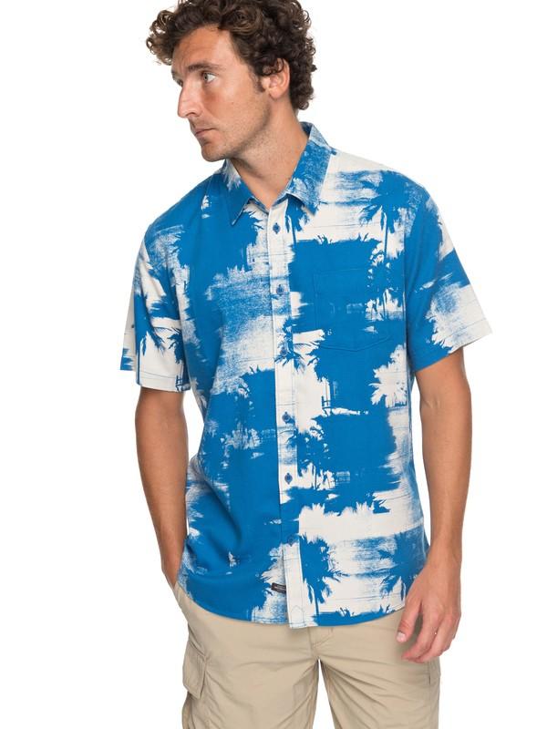 0 Waterman Paokalani Palms - Technical Short Sleeve Shirt Blue EQMWT03130 Quiksilver