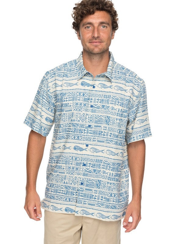 0 Waterman Pina Fish Short Sleeve Shirt Blue EQMWT03131 Quiksilver