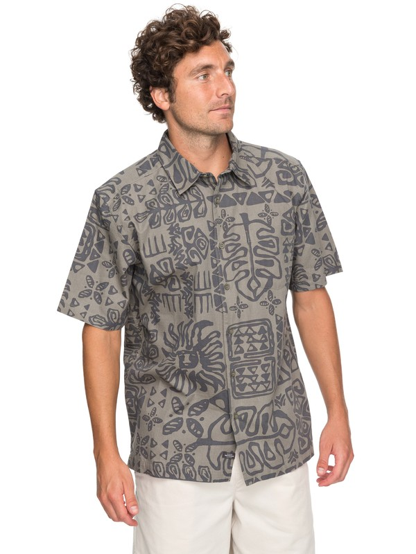 0 Waterman Kohala Coast Short Sleeve Shirt Beige EQMWT03132 Quiksilver