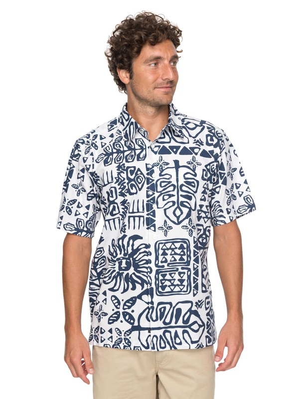 0 Waterman Kohala Coast Short Sleeve Shirt White EQMWT03132 Quiksilver